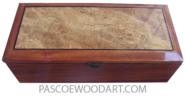 Handcrafted wood box - Keepsake box made of bloodwood with spalted maple burl beveled top