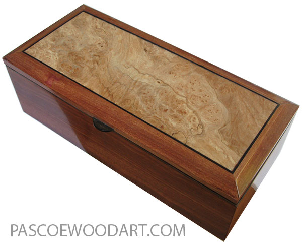 Handcrafted wood box - Keepsake box made of bloodwood with spalted maple burl top