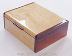 Decorative keepsake box handmade of Karelian birch veneer with cocobolo ends