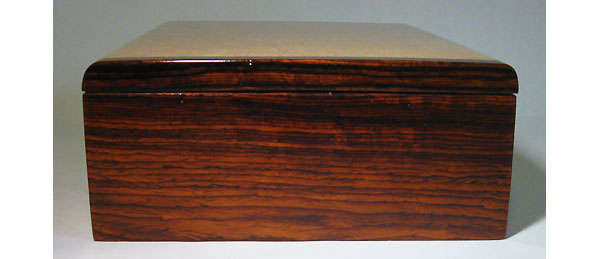 Cocobolo end of Decorative keepsake box made of Karelian birch with cocobolo ends