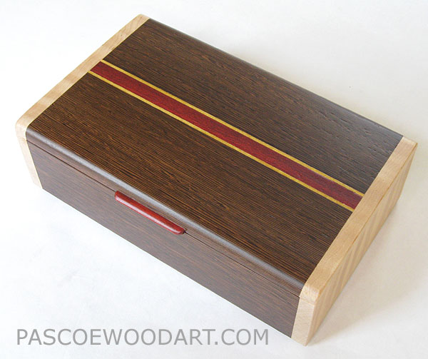 Decorative wood keepsake box - Handmade wood box made of wenge laminated to a cherry core with maple ends, satinwood and bloodwood accents