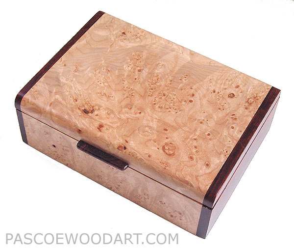 Handmade wood box - Decorative keepsake box made of maple burl, cocobolo