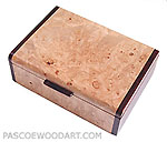 Handmade decorative keepsake box made of maple burl, cocobolo