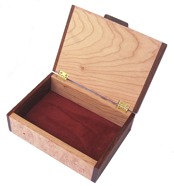 Handmade wood keepsake box - open view