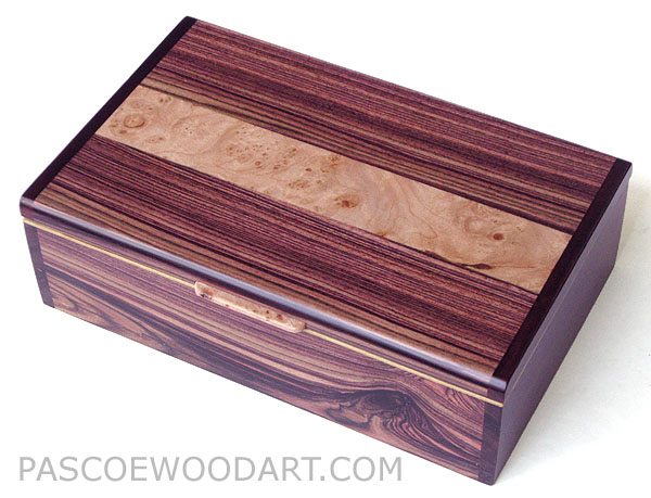 Decorative wood keepsake box, valet box, photo box - handmade wood box made of Brazilian kingwood, maple burl, bois de rose