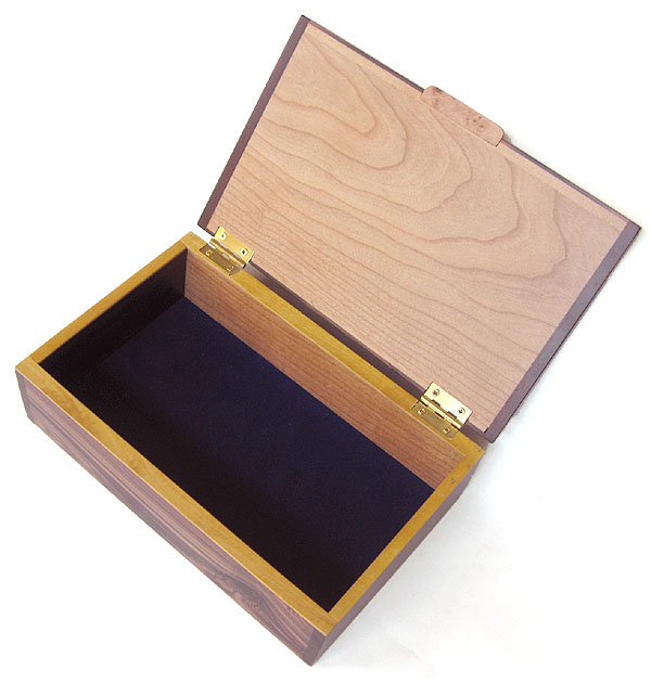 Handmade wood keepsake box open view - Decorative photo box, valet box