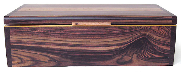 Handmade wood box front view - Brazilian kingwood, bois de rose, Ceylon satinwood