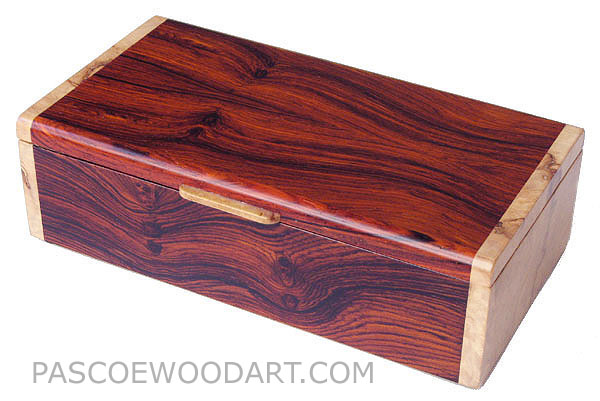 Handmade wood keepsake box - Cocobolo wood box with maple burl ends