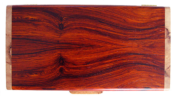 Cocobolo wood box top - Handmade wood keepsake box