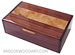 Handcrafted wood keepsake box - Decorative keepsake box made of Brazilian kingwood, maple burl, bois de rose