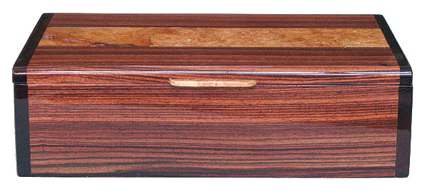 Handmade wood box - front view - Brazilian kingwood box with maple burl inlaid top