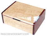 Handcrafted wood box - Decorative keepsake box made of Karelian birch burl, cocobolo