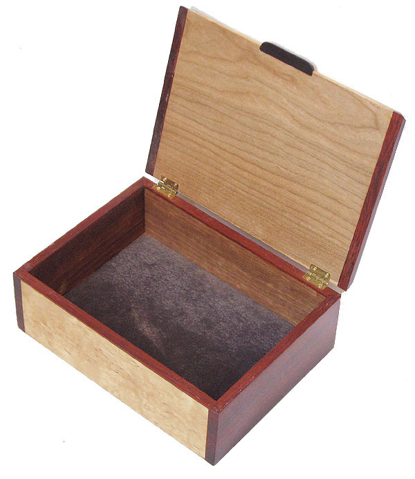 Handcrafted wood box - open view - Decorative keepsake box