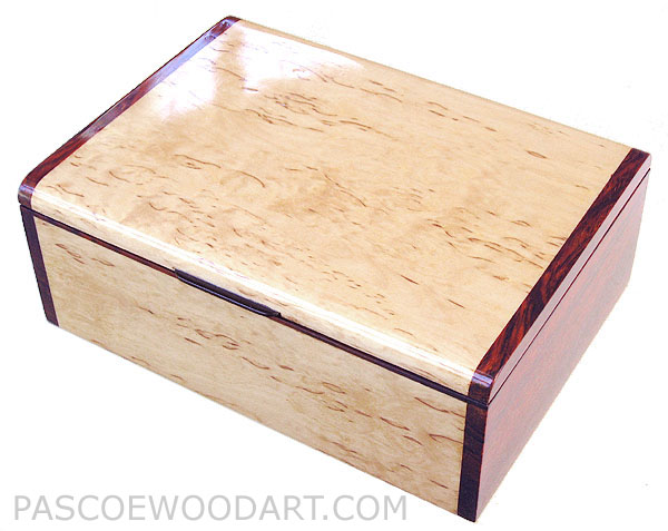 Handmade wood box - Decorative wood keepsake box made of Karelian birch burl, cocobolo