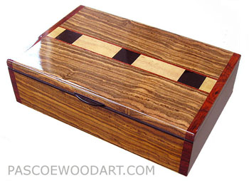 Bocote box - Handcrafted wood box - Decorative wood keepsake box made of bocote, Ceylon satinwood, ebony, cocobolo