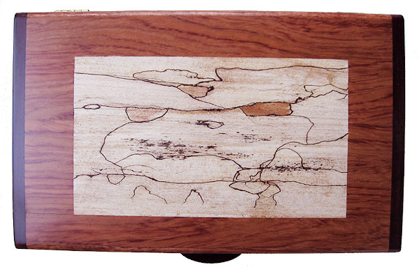 Spalted maple inlayed box top - Decorative keepsake box made of bubinga, spalted maple, bois de rose