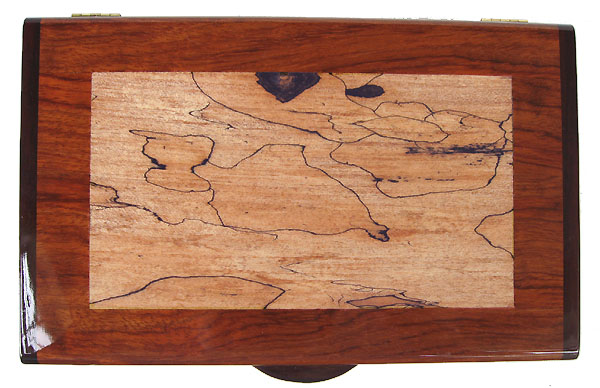 Spalted maple inlayed bubinga wood box - Handmade keepsake box- Box top view