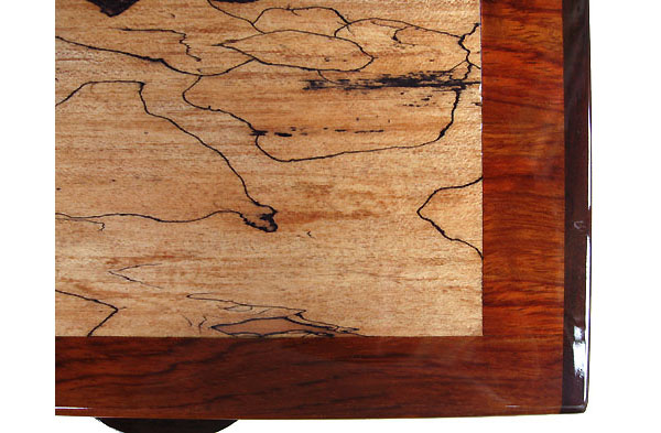 Decorative wood box - Spalted maple inlayed bubinga box - close up