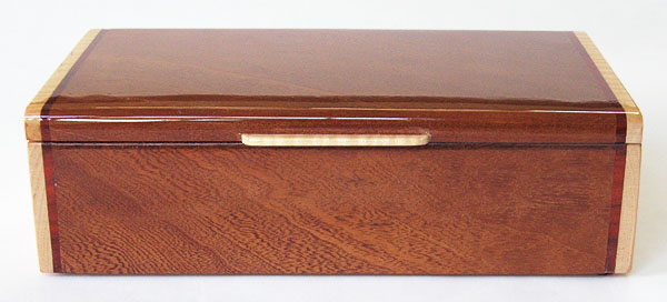 Decorative keepsake box front view - Handmade wood box made of sapele and maple wood