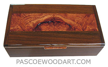 Decorative wood keepsake box - Handmade wood box made of East Indian rosewood, amboyna burl