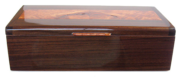 Handcrafted wood box - East Indian rosewood box front view