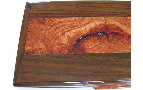 Amboyna burl inliad box top close up - Handmade decorative wood keepsake box