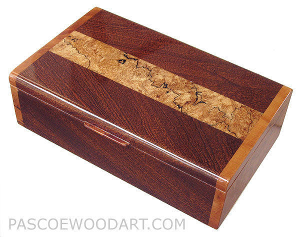 Decorative wood keepsake box - Handmade box made of sapele over cherry with spalted maple inlaid top, madrone burl ends