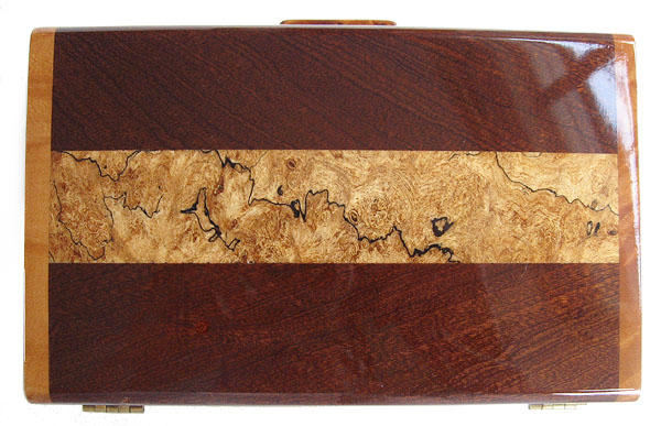 Spalted maple inlaid sapele box top - Decorative wood keepsake box