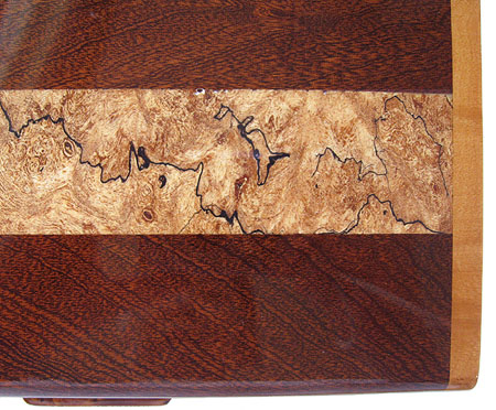 Spalted maple indaid sapele box top - Closeup