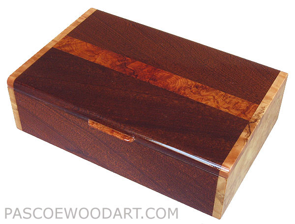 Handcrafted wood box - Decorative wood keepsake box made of sapele, madrone burl, spalted maple burl