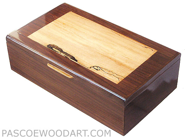 Decorative wood keepsake box - Handcrafted wood box made of East Indian rosewood, spalted maple
