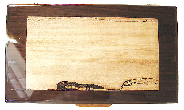 Spalted maple inlaid box top - Handcrafted decorative keepsake box