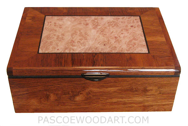 Handcrafted wood keepsake box - Decorative wood box made of Honduras rosewood, maple burl, ebony