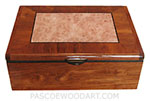Handcrafted wood keepsake box made of Honduras rosewood, maple burl, ebony