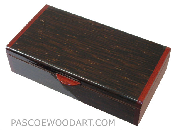 Handmade wood box -Decorative wood keepsake box made of black palm with bloodwood ends