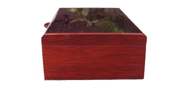 Handmade wood keepsake box - Bloodwood box end