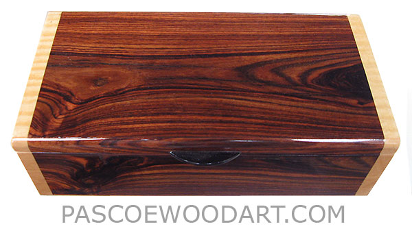 Handcrafted wood box - Decorative wood keepsake box made of Brazilian kingwood with figured maple ends