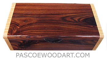 Handmade wood box - Decorative keepsake box made of Brazillian kingwood with figured maple ends