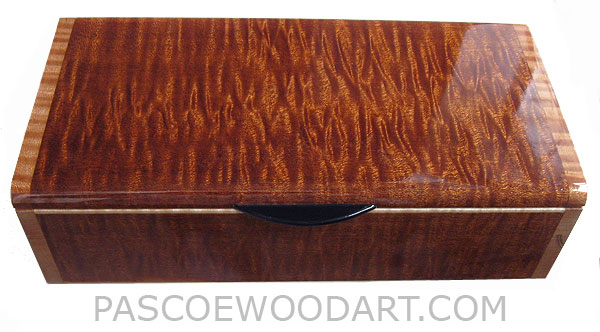 Handmade wood box - Decorative wood keepsake box made of sapele with curly maple ends