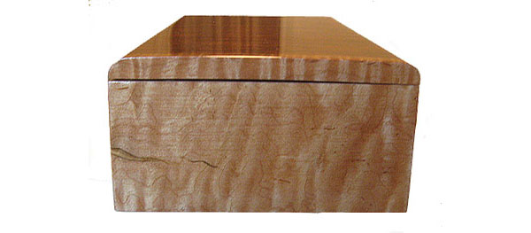 Decorative wood keepsake box - Curly maple side view