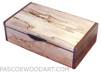 Handmade wood box - Decorative wood keepsake box made of bleached spalted maple with walnut ends