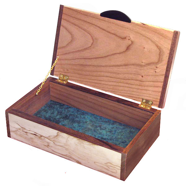 Handmade wood keepsake box - Decorative wood keepsake box - open view