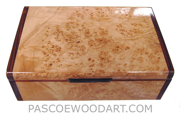 Handcrafted wood box - Decorative wood keepsake box made of maple burl with cocobolo ends