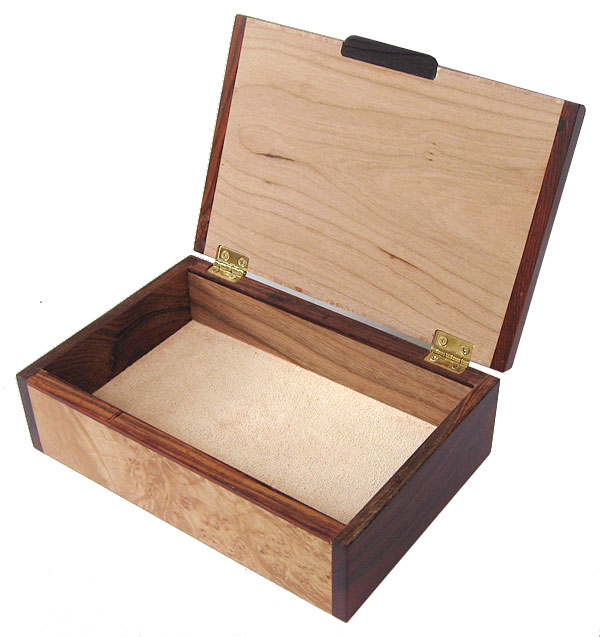 Handcrafted wood box - Decorative wood keepsake box - open view