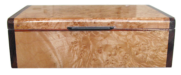 Handcrafted wood box front view - - Decorative wood keepsake box made of maple burl with cocolobo ends