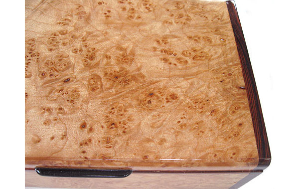 Maple burl box top close up - Handcrafted decorative keepsake box