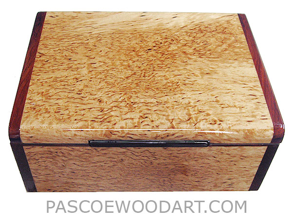 Handcrafted wood box - Decorarive wood keepsake box made of masur birch with cocobolo ends
