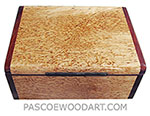 Handcrafted wood box - Decorative wood keepsake box made of masur birch with cocobolo ends