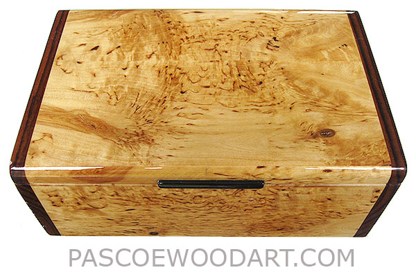 Handcrafted wood box - Decorative wood keepsake box made of masur birch with Asian ebony ends