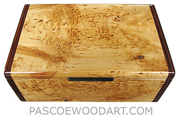 Handmade wood box - Decorative wood keepsake box made of masur birch with Asian ebony ends